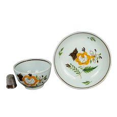 18th Century Prattware Childs Toy Tea bowl And Saucer Pearlware Miniature Circa 1790 Naïve