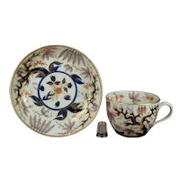 Antique Circa 1810 New Hall Porcelain Cup and Saucer Imari Vine, Pattern 466, Regency Era