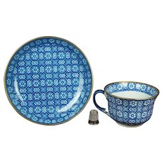 19th Century Davenport Blue And White Transferware Cup And Saucer Pearlware Circa 1830