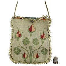 18th Century Purse, Silk Tapestry Weave Bag, Ottoman Empire, Circa 1790 to 1820