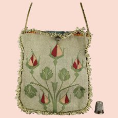18th Century Purse, Silk Tapestry Weave Bag, Ottoman Empire, Circa 1790 to 1820