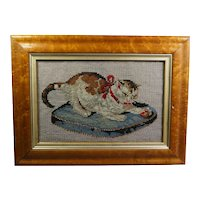 Antique 19th Century Cat Needlework Kitten Playing Ball, Birds Eye Maple Frame Needlepoint Circa 1860