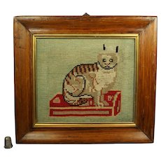 19th Century Cat Needlework Kitten Needlepoint Circa 1860