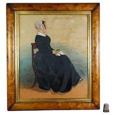Antique Mid 19th Century Folk Art Portrait, Lady Reading a Book, Watercolor Gouache Circa 1860
