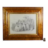 19th Century Georgian Drawing Children Playing , Cushion Frame Circa 1820