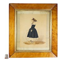 Antique 19th Century Naïve Folk Art Watercolor Portrait, Boy and Play Hoop, Ribbon Mount Circa 1830
