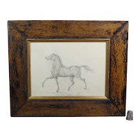 19th Century Large Pencil Portrait Horse Equine, Rustic Frame Circa 1870