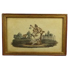 Circa 1810, French Empire Miniature Engraving Mother and Baby, Breastfeeding Child Georgian
