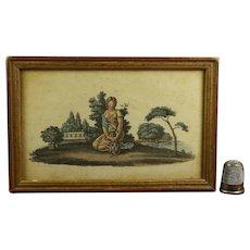 Antique French Empire Era Miniature Engraving Girl, Pet Dog Circa 1810