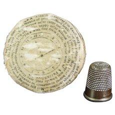 Super Rare Double Silk Pocket Watch Paper Pin Cushion Pin Wheel Circa 1820 Love Token As Found