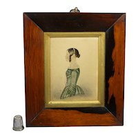19th Century Miniature Portrait, Naïve Painting Young Lady Green Dress Circa 1845