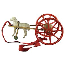 Rare 19th Century Wood Sheep Bell Pull Toy Carriage German Hand Made, Circa 1890 AF