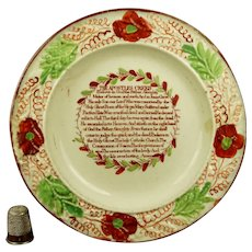 RARE 19th Century Staffordshire Childs Plate The Apostles Creed, Nursery Ware Circa 1815 Folk Art AF