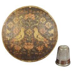 Rarest French Miniature 18th Century Woven Straw Work Box, Birds, Gillyflower, Circa 1700 to 1750 MUSEUM WORTHY