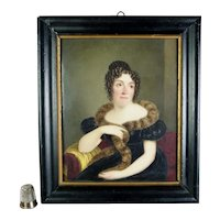 Antique 19th Century Finest Miniature Portrait on Porcelain, Georgian Lady by William Corden The Elder 1837