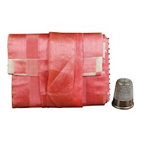 Antique 19th Century Pink Silk Needlecase Hussif Sewing Roll Circa 1840