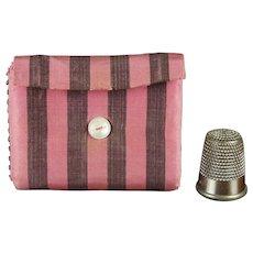 19th Century Pink Purple Silk Needlecase Needle Case Hussif Sewing Roll Pin Keep Circa 1840