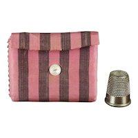 Antique 19th Century Sewing Roll, Hussif, Pink Purple Silk Needlecase, Pin Keep Circa 1840