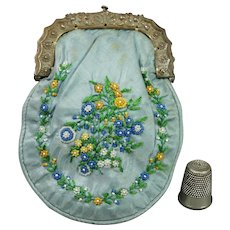 19th Century French Miniature Coin Purse Blue Silk, Beaded, Circa 1820 So Pretty