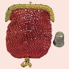Jane Austen Era Purse, Crimson Silk Netted, Ormolu Frame Circa 1817 SANDITON