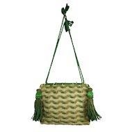Antique Georgian Reticule Handbag Green Woolwork Beadwork Circa 1820s SANDITON