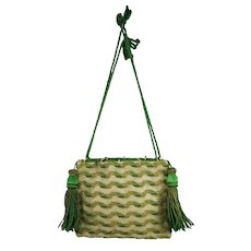 Antique Georgian Reticule Handbag Green Woolwork Beadwork Circa 1820s SANDITON