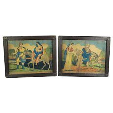 Antique Circa 1820 Pair Engravings,Rare Religious Folk Art, Primitive