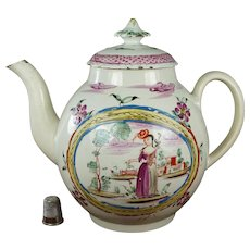 Antique 18th Century English Pearlware Teapot, Polychrome Enamel, Georgian Shepherdess Lady Circa 1780