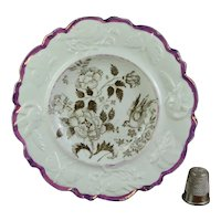 Antique Miniature Staffordshire Child's Plate Bird, Butterfly Moulded Border Pink Lusterware Circa 1830  AF