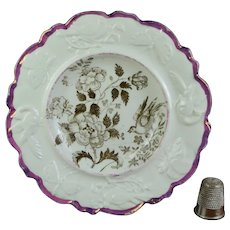 Miniature Staffordshire Child's Plate Bird, Butterfly Moulded Border Pink Luster Lustre Ware Circa 1830  AF