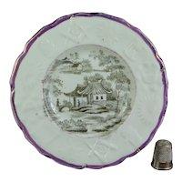 Antique Miniature Staffordshire Child's Plate, Masonic Freemason Moulded Border Pink Lusterware Nurseryware Circa 1830