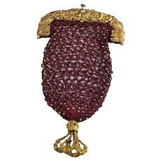 Antique Regency Purse, RARE Pineapple Pinchbeck Frame, Red Silk Netted, Circa 1810 Jane Austen Era, Female Gift