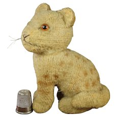 Rarest Tiny Brother Steiff Lion Cub Junglowe Wild Cat, Circa 1950 Spots and Stripes, Glass Eyes