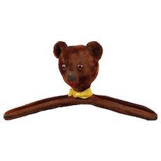 Vintage Red Mohair Teddy Bear Head Clothes Hanger 1950s