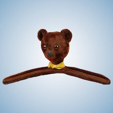 Vintage Red Mohair Teddy Bear Head Clothes Hanger 1950s