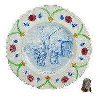 Antique 19th Century Staffordshire Nursery Plate, Donkey, Circa 1830, Flora and Fauna