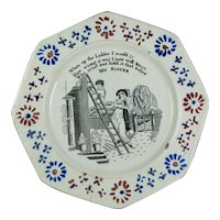 Antique 19th Century Staffordshire Childs Nursery Plate, My Sister, Circa 1830