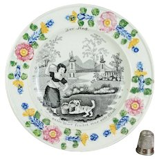Antique 19th Century Staffordshire Childs Plate, Girl and Dog Playing, Circa 1830 For German Market