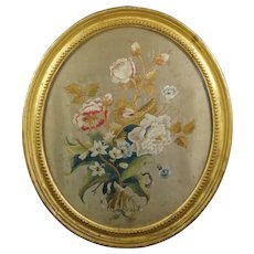 Antique Georgian Silkwork Embroidery, Floral English Flowers, Oval Gilt Frame, Great Condition Circa 1810