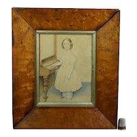 English 19th Century Portrait Miniature, Girl Playing Giraffe Piano C 1840