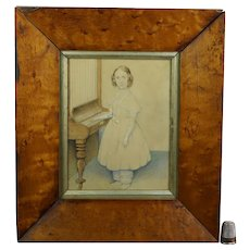 Exquisite 19th Century Small English Watercolor Portrait, Girl Playing Giraffe Piano C 1840