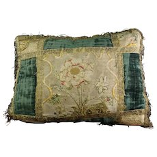 English Small 17th Century Embroidered Pillow Velvet Cushion AF
