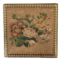19th Century Fitted Needlework Whist Counter Box, Original Mother of Pearl Counters C 1840
