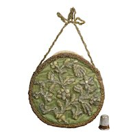Antique 17th Century Stump Work, Raised Work Embroidered Panel Wall Pocket 1680s
