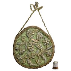 Antique 17th Century Stumpwork, Raised Work Embroidered Panel Wall Pocket 1680s AF