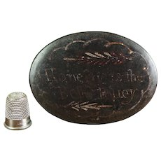 18th Century Georgian Toleware Snuff Box, Honesty Is the Best Policy, Folk Art Circa 1790