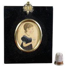 19th Century Regency Portrait Miniature, Little Girl Blue Dress Holding Flower c 1810