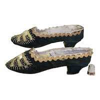 Antique Victorian Girls Shoes, Black Velvet Gold Embroidery, French Circa 1870