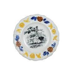 Antique 19th Century Staffordshire Children's Plate, Nursery Ware, Cow Scene, Prattware Rural C 1830
