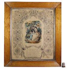 Rare 19th Century Victorian Valentine, Love Token Engraving With Stamped 1844 Original Envelope